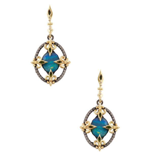 Armenta Midnight Fleur de Lis Diamond & Boulder Opal Drop Earrings ($1,375) ❤ liked on Polyvore featuring jewelry, earrings, blue, diamond fleur de lis earrings, fleur de lis earrings, 18k earrings, blue diamond earrings and drop earrings