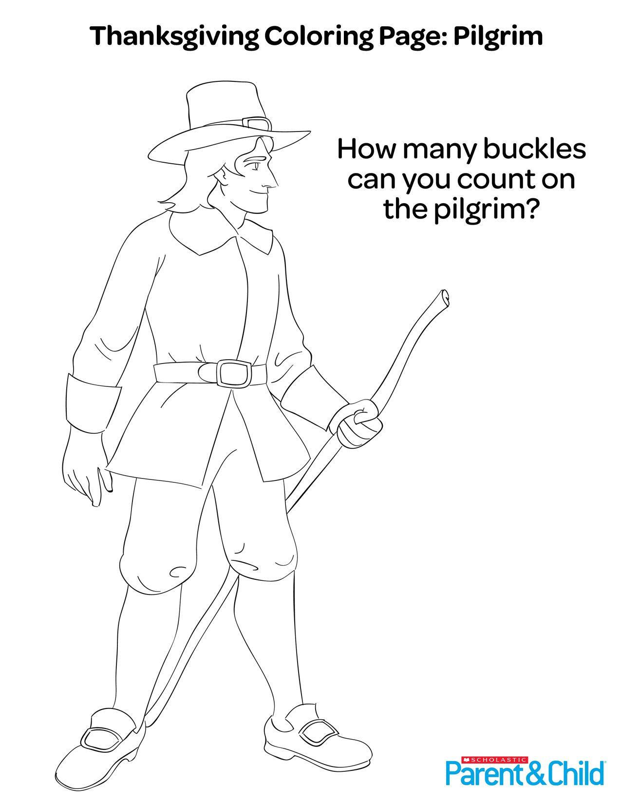 Thanksgiving printable coloring page pilgrimprint ou top