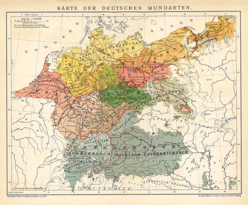 deutschland karte alt Karte der Deutschen Mundarten um 1900 | Deutschlandkarte, Deutsche