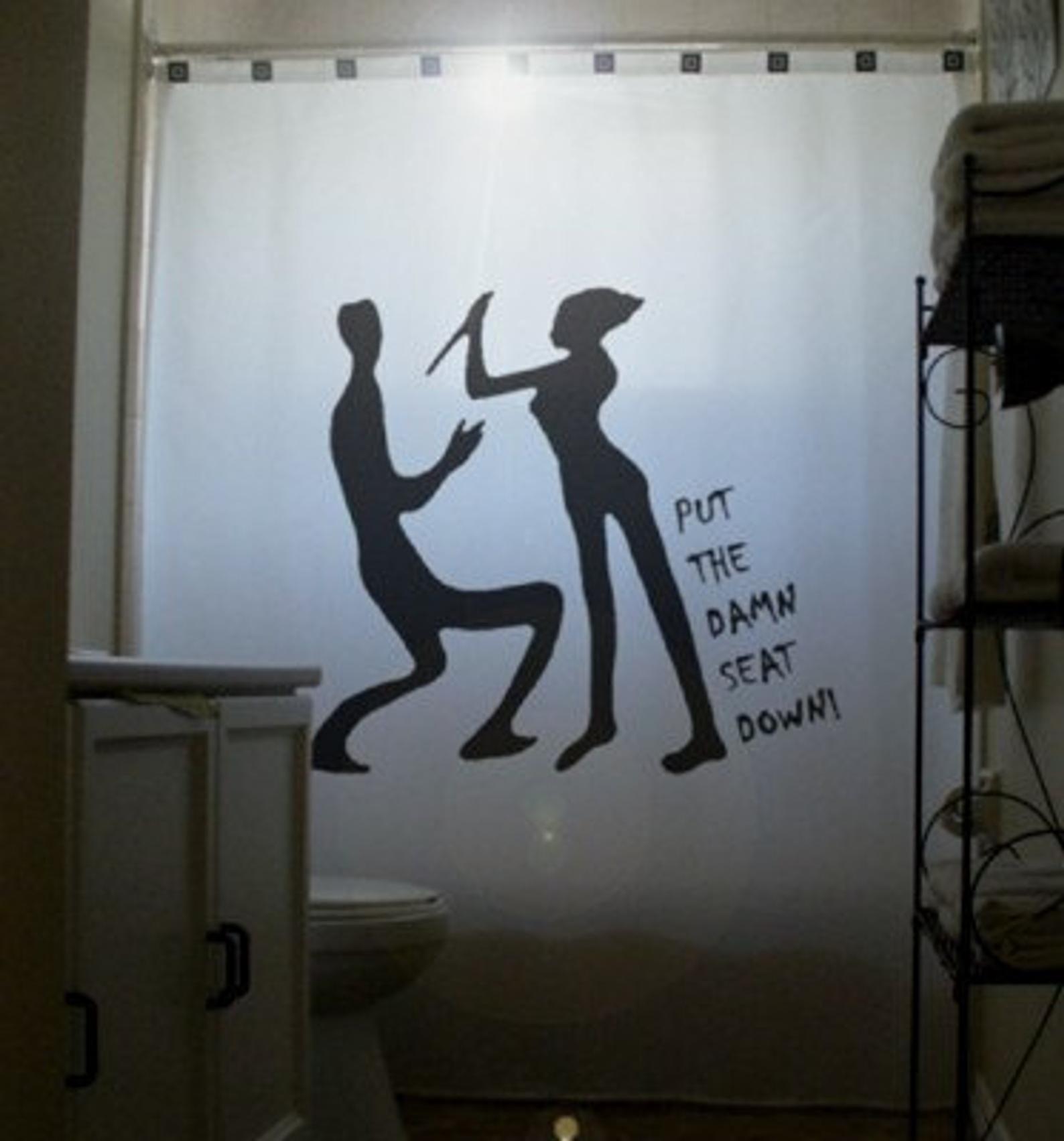 Men Vs Women Funny Shower Curtain Cool Psycho Bathroom Decor Put