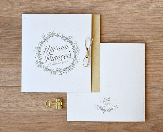 faire part mariage champetre chic fond kraft couronne vegetale coups de coeur mariage. Black Bedroom Furniture Sets. Home Design Ideas