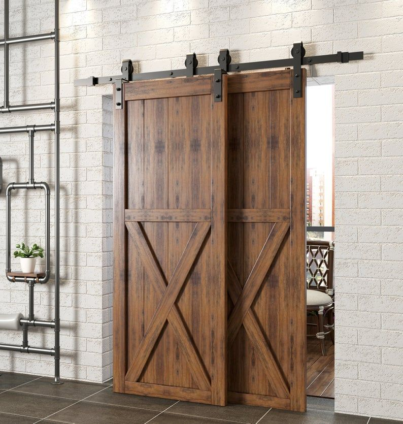 Single Track Bypass Sliding Barn Door Hardware Kit Interior Etsy Bypass Barn Door Bypass Barn Door Hardware Barn Doors Sliding