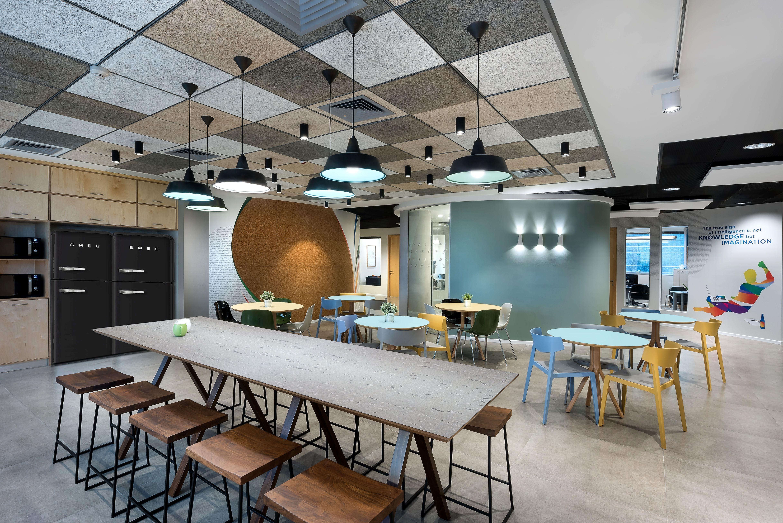 hi tech company office cafeteria viaccess orca offices interiors rh pinterest com