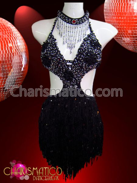 c4bce4195412 Charismatico Dancewear Store - CHARISMATICO Sequin accented black and  silver fringe cutout salsa dance dress,
