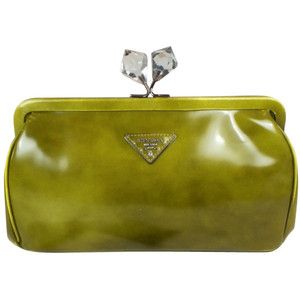Pre-owned PRADA CLUTCH IN GREEN STOCKING LEATHER