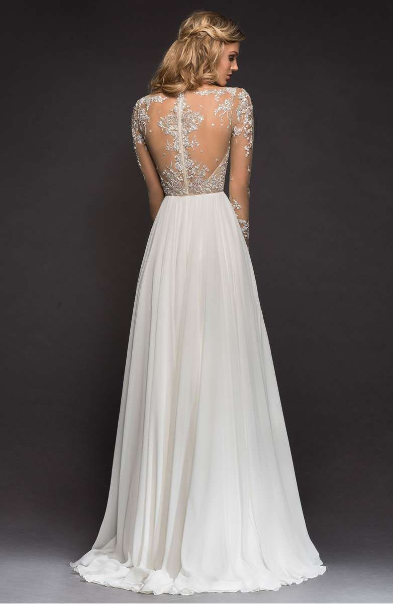 Hayley paige pascal embellished net chiffon aline gown