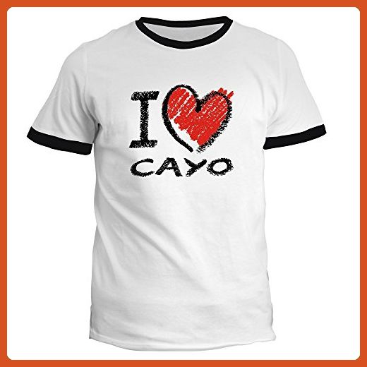 Idakoos - I love Cayo chalk style - Cities - Ringer T-Shirt - Cities countries flags shirts (*Partner-Link)