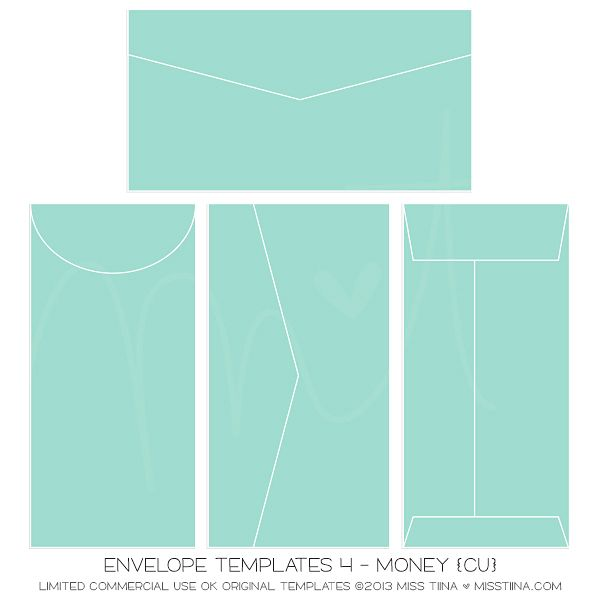 Envelope Templates 4 - Money {Cu} | Miss Tiina Digital Art