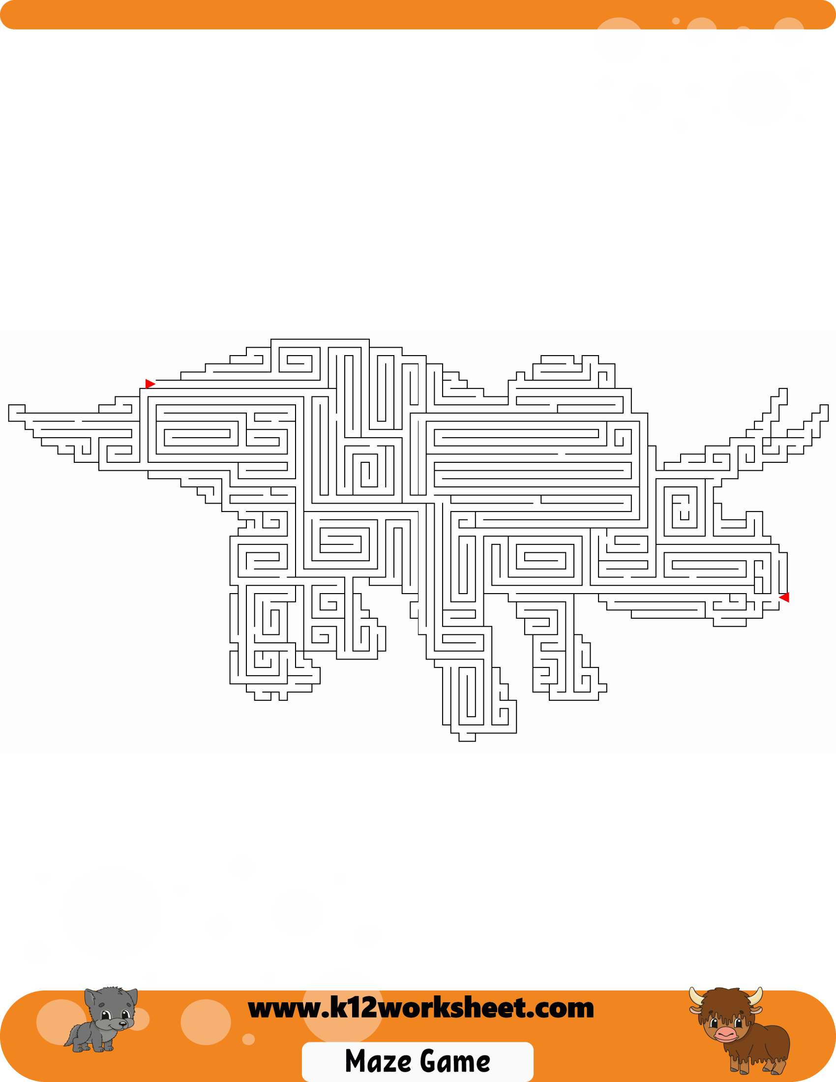 Dinosaur Maze Worksheet