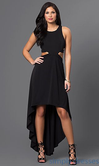 High-Low Racerback Black Party Dress | Black party dresses, Black ...