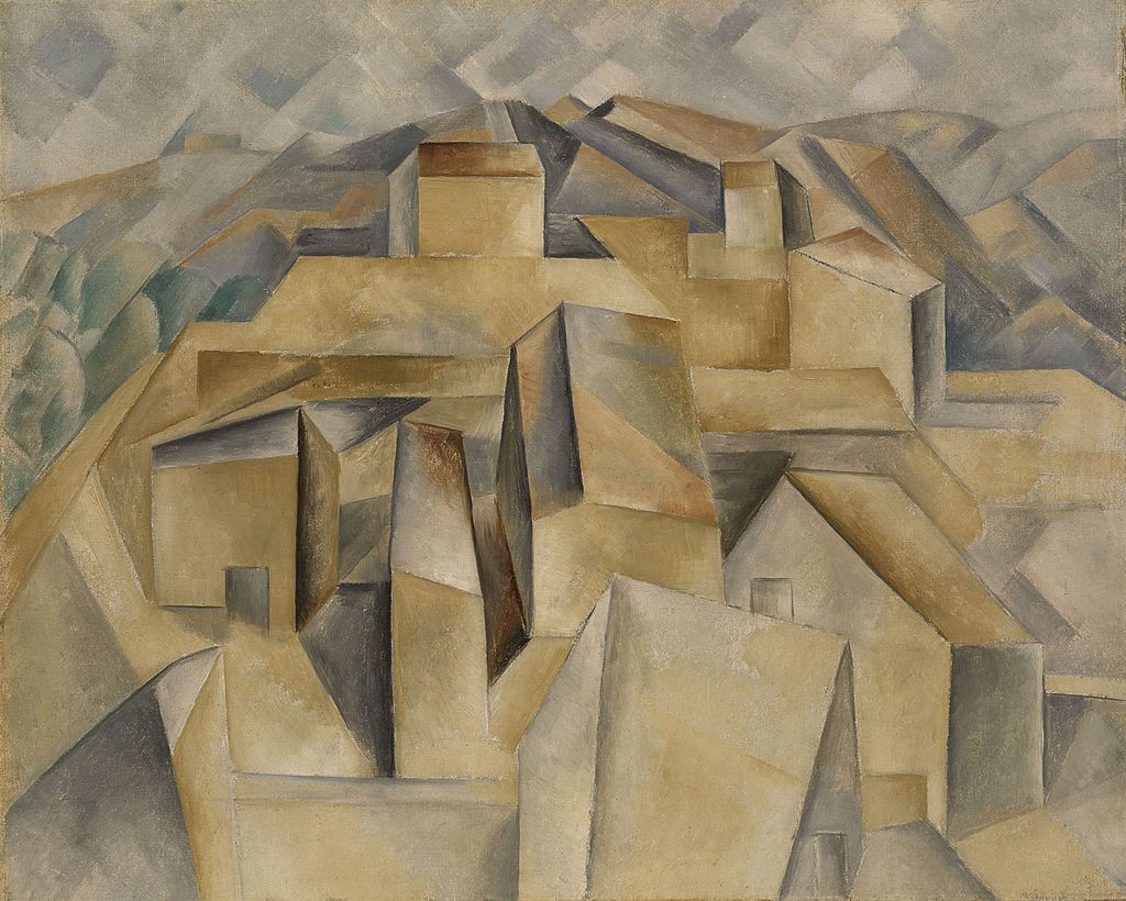 Pablo Picasso, 1909, Maisons à Horta (Houses on the Hill, Horta de Ebro), oil on canvas, 65 x 81 cm, private collection - Picasso's African Period - Wikipedia, the free encyclopedia