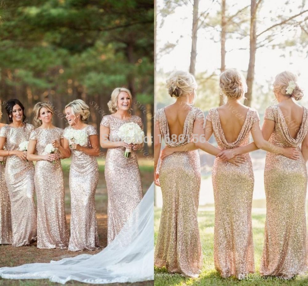 Long gold sequin bridesmaid dress short sleeve floor length gold cheap dress to wear to a winter wedding buy quality dress lion directly from china dress tube suppliers gold long bridesmaid dresses sequined short sleeve ombrellifo Images