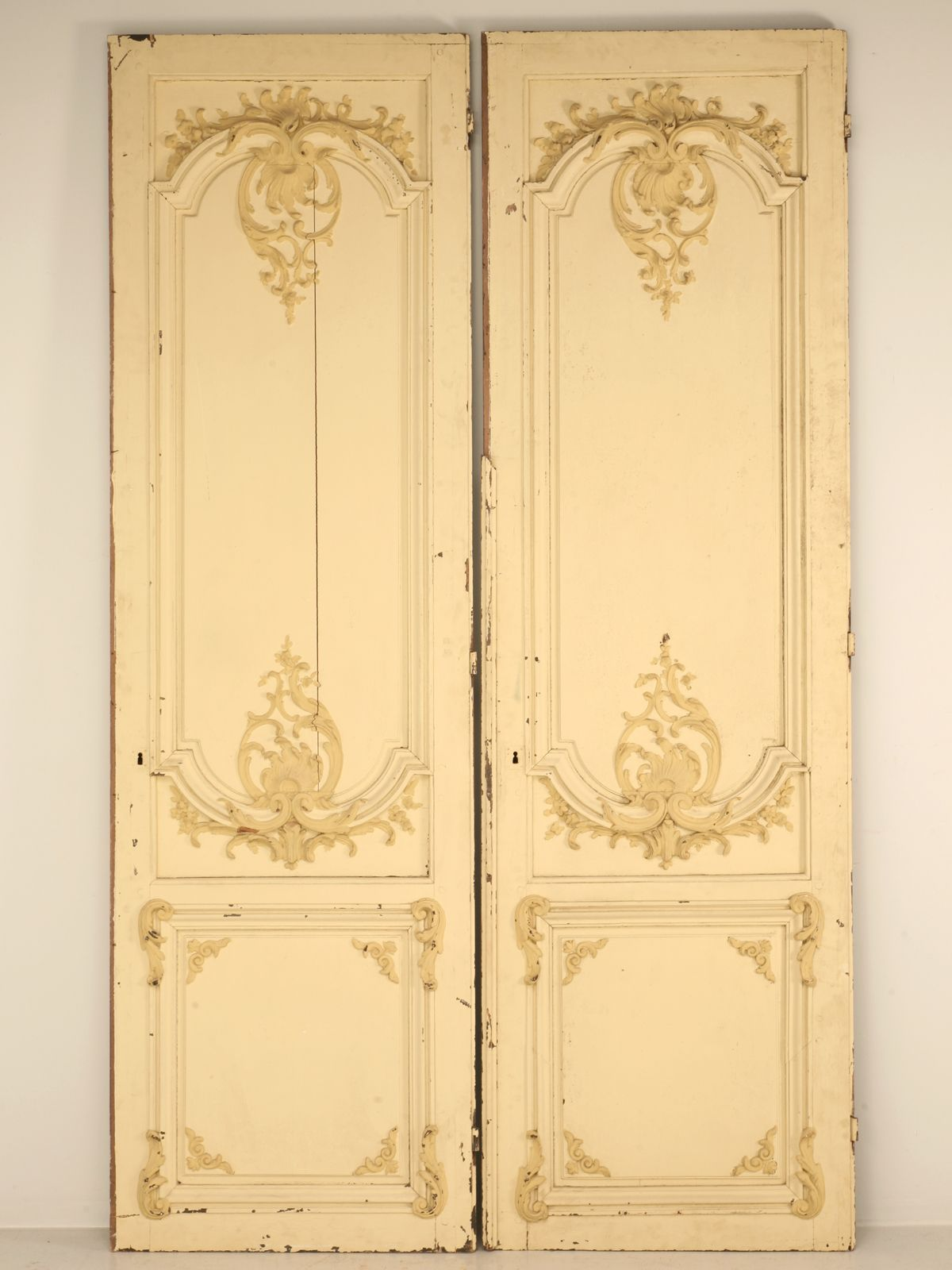 Pair Antique French Chateau Doors with Original Paint httpwwwoldplankcomProductbez2225