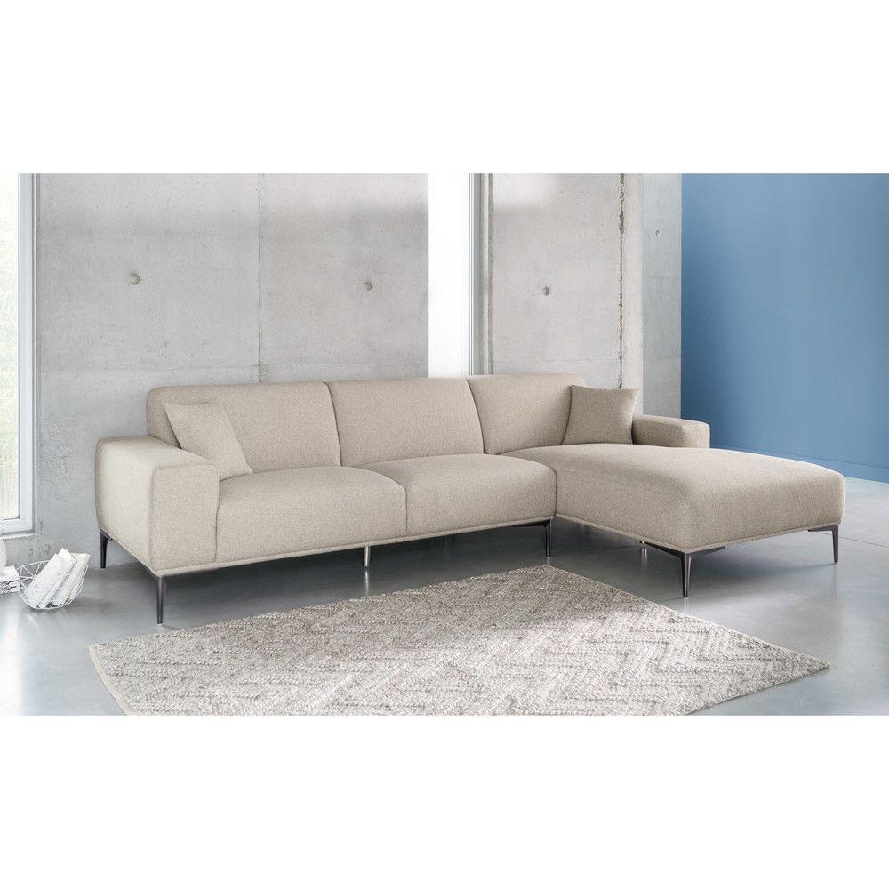 Canapé 2/3 places en tissu gris clair chiné   Maisons du Monde