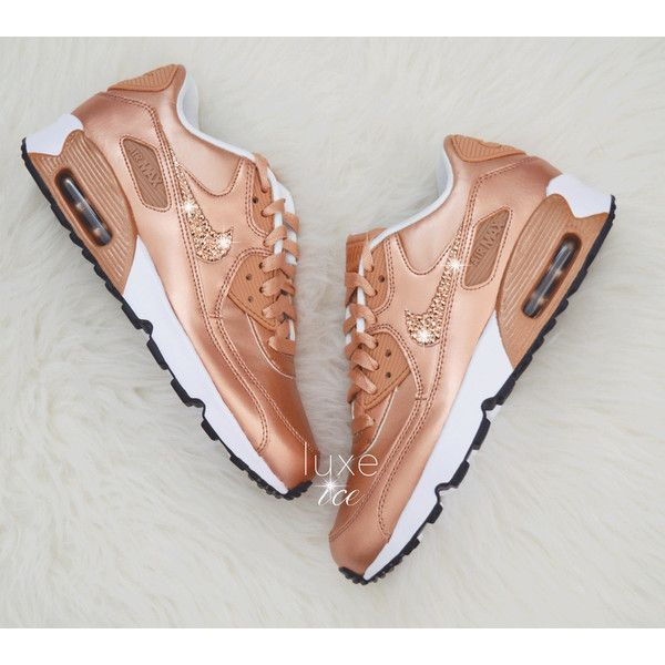 Nike Air Max 90 Trainers In Leather Rose Gold in 2019 | Air