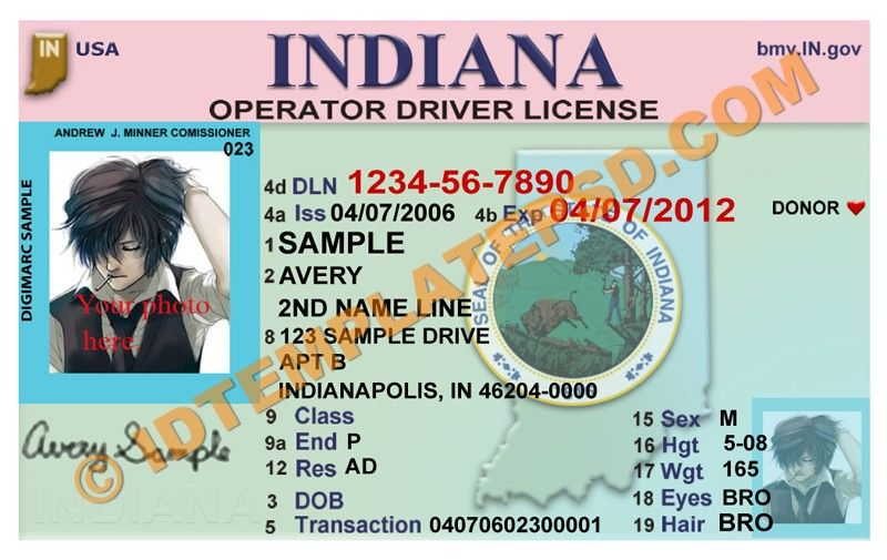 this is indiana  usa state  drivers license psd  photoshop