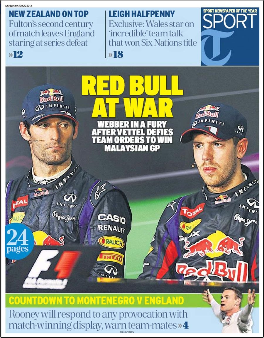 Red Bull At War Daily Telegraph Sport Headline Sports