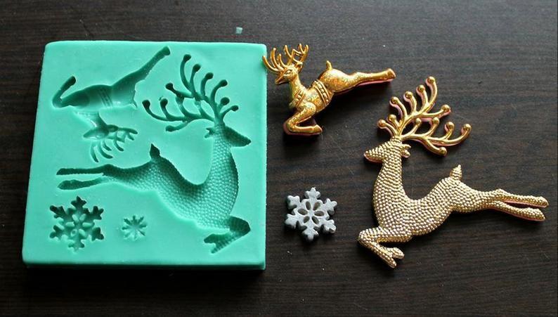 Silicone Mould Christmas deer Sugarcraft Cake Decorating