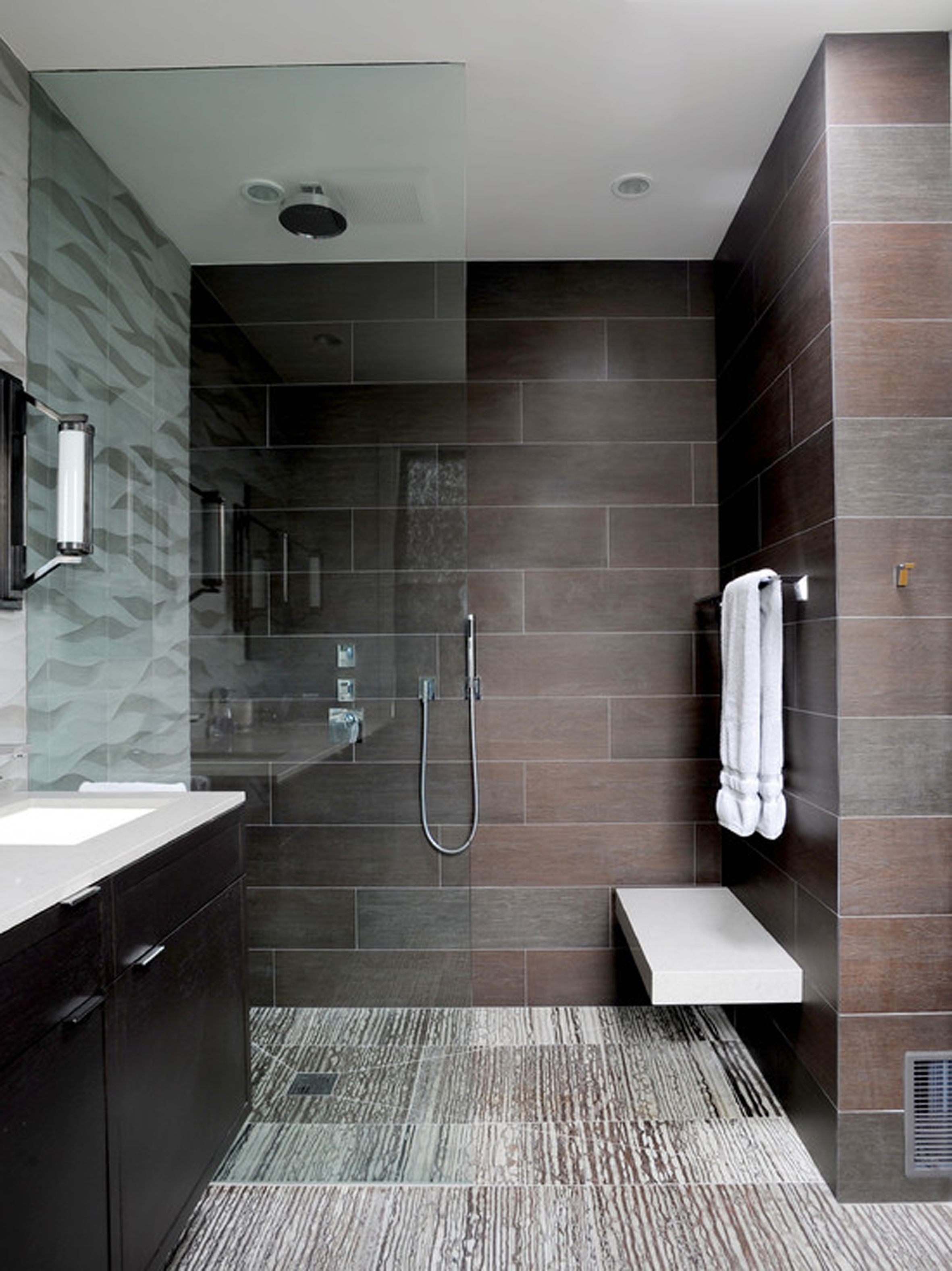 Modern bathroom shower designs - 6x5 Width Of Shower Allows For Door Less Shower Plus All