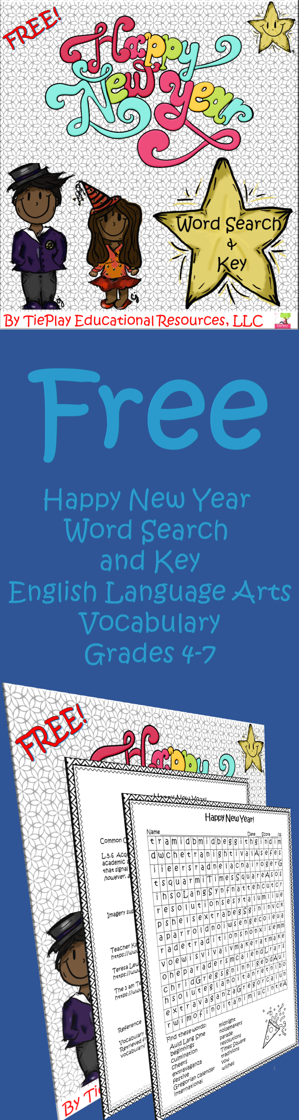 Free Happy New Year Word Search Vocabulary English