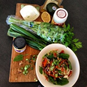 liver detox salad with turmeric vinaigretted dressing