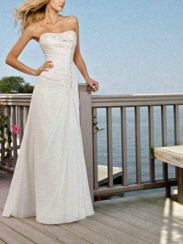 Beautiful Empire Chiffon Bridal Gown A Line Beading Ivory Wedding Dress