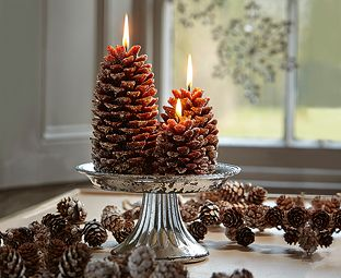 Frosted Pine Cone Candles - a unique way to bring Autumn into your home