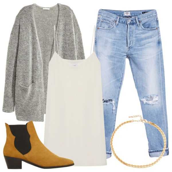 A classic choice for a chill evening, stay cozy and warm in the theater by teaming the slip with a distressed straight-leg jean and oversize cardigan (your call on whether you want to tuck the dress in or leave it out). A dainty choker necklace adds a bit of flirty flair and suede ankle boots provide a hint of polish.