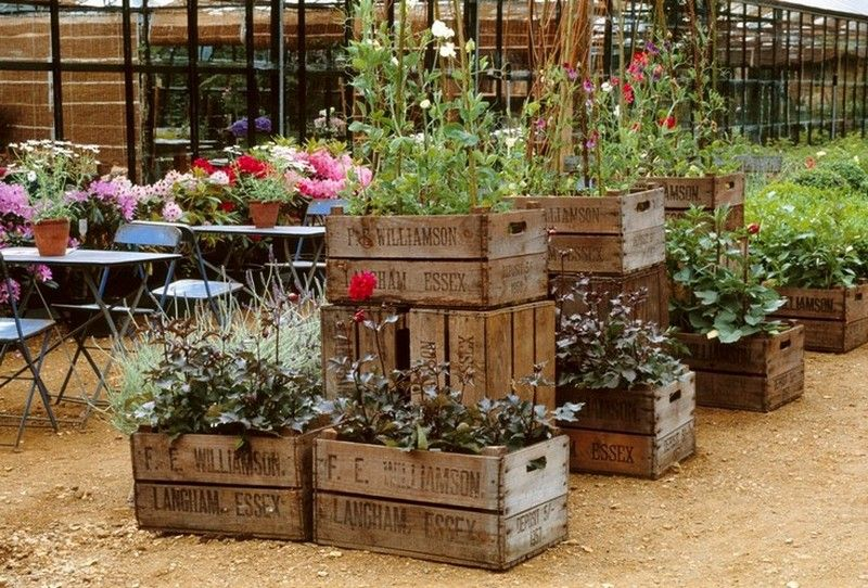 Repurposed Wooden Crate Ideas Garden Crates Unique Gardens Garden Planters Boxwood Garden