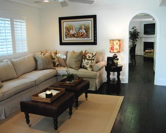 L Shaped Sofa With Short End In Front Of Bow Window Living Room Decor Neutral Black Wallpaper Bedroom Family Room