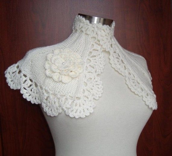 SPECIAL SALE  Grace Kelly Ivory  Bridal Capelet  by Starknitting, $39.00