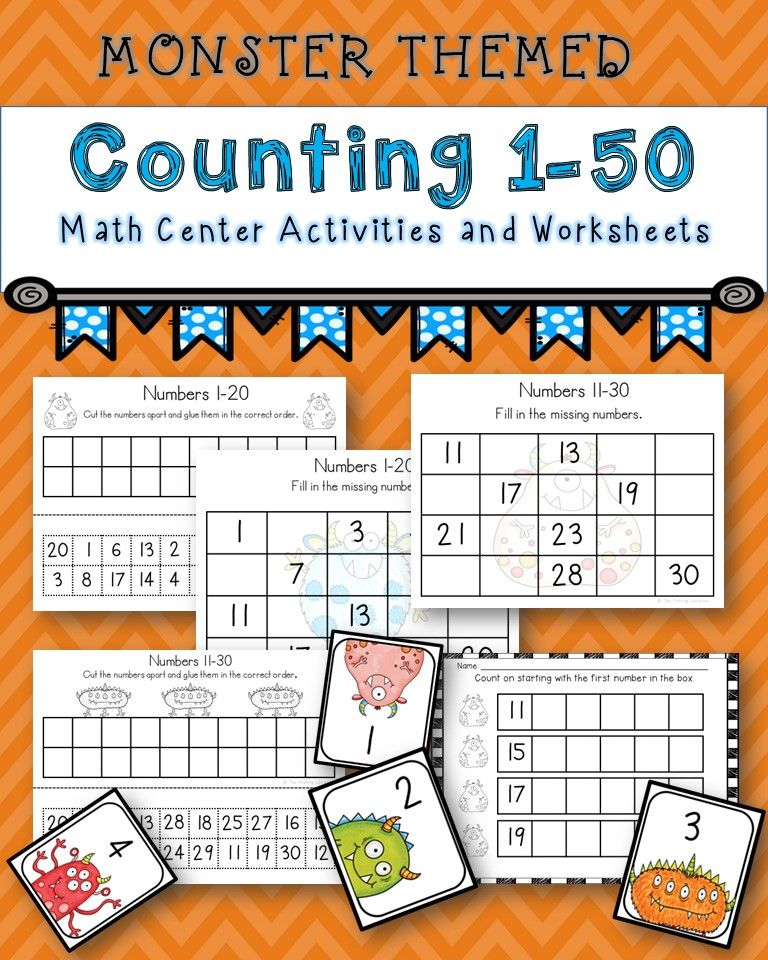 Monster Counting 1 50 Packet Monster Counting Cards And Worksheets For Numbers 1 50 Math Center Activities Free Math Lessons Kindergarten Math Activities