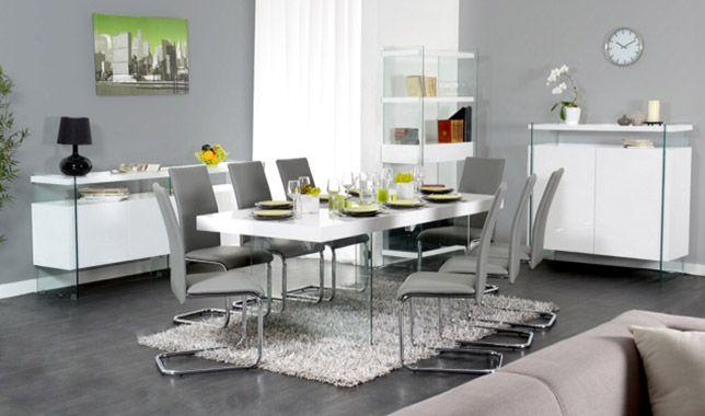 Sejour Complet Design En Blanc Laque Et Verre Trempe Spekia