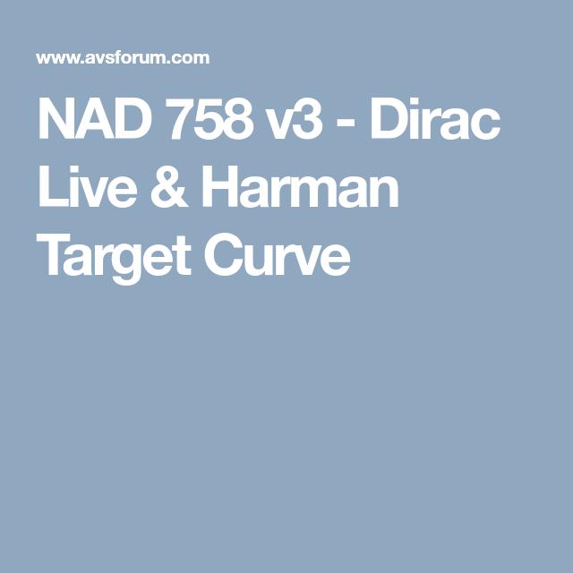 NAD 758 v3 - Dirac Live & Harman Target Curve | TECH | Home
