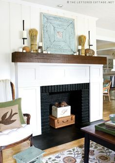 brick fireplace with wood beam mantel - Google Search | Family ...