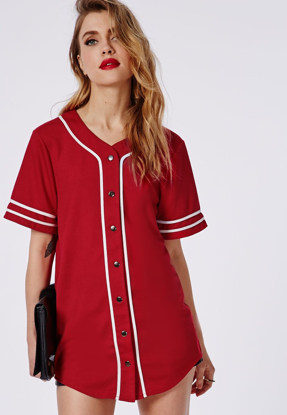 Bad gal button through boyfriend baseball jersey tee red for Baseball button up t shirt dress