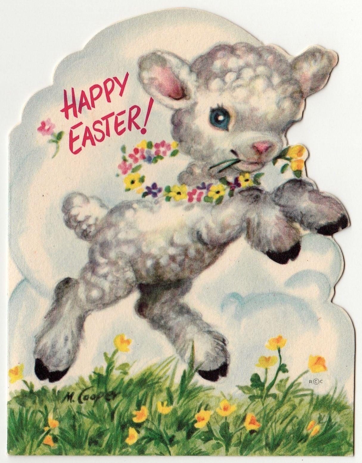 Vintage Greeting Card Easter Cute Lamb Sheep Die Cut M Marjorie Cooper A380