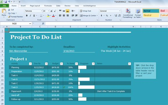 Project Task List Template for Excel 2013 Business PowerPoint - Management List Sample
