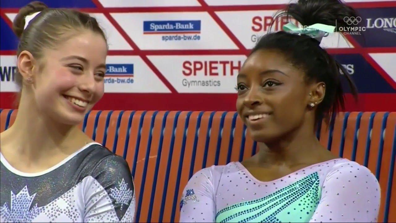 Gold Simone Biles Aa Vault Bars Beam Floor 2019 Stuttgart Cup Simone Biles Gymnastics Youtube