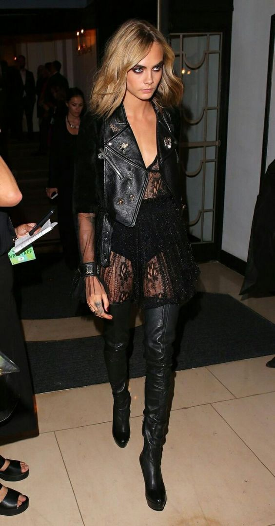 064086f51eab CARA DELEVINGNE, BLACK BOOTS, THIGH HIGH BOOTS, OVER THE KNEE BOOTS ...