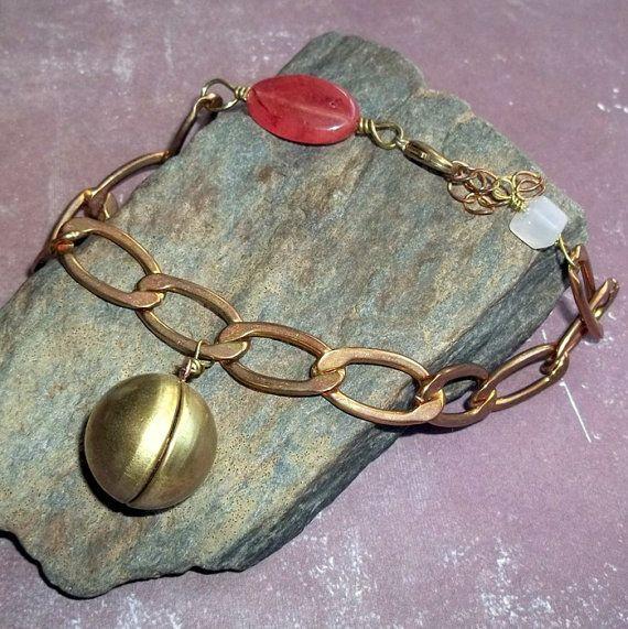 Vintage Locket Cherry Quartz Bracelet $21