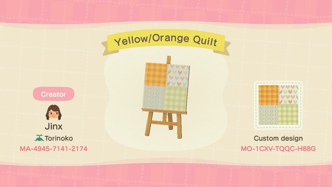 Yellow Orange Quilt Animal Crossing Pattern Gallery Custom Designs Animal Crossing New Animal Crossing Yellow Animals