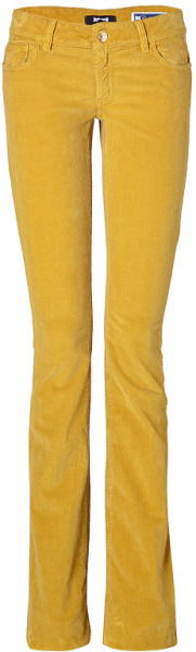 Just Cavalli Yellow Cotton Corduroys in Yellow