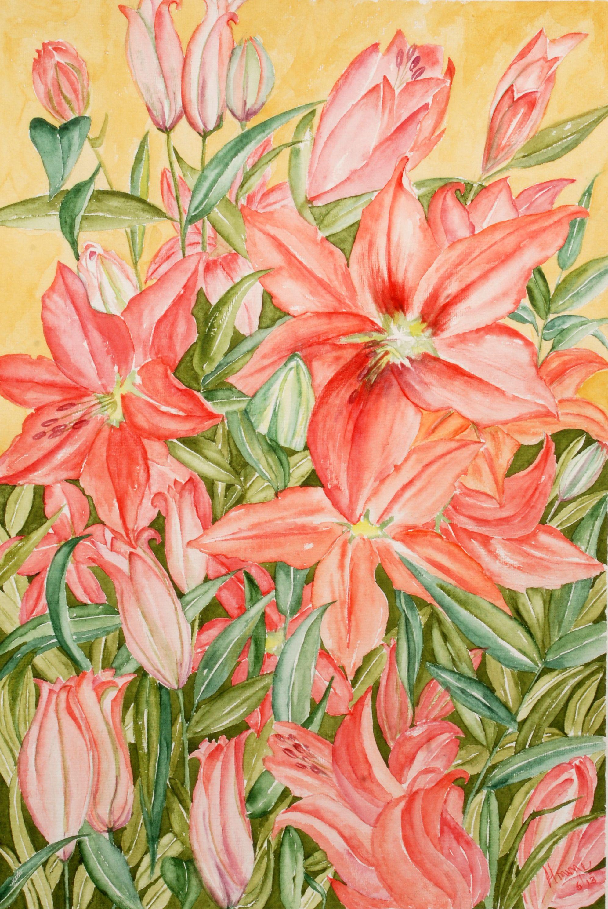 Lilies Manju Srivatsa Studiomcolors Flower Paintings By
