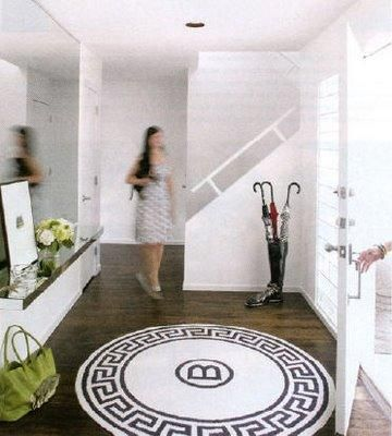 Adore This Foyer And The Greek Key Rug With Monogram