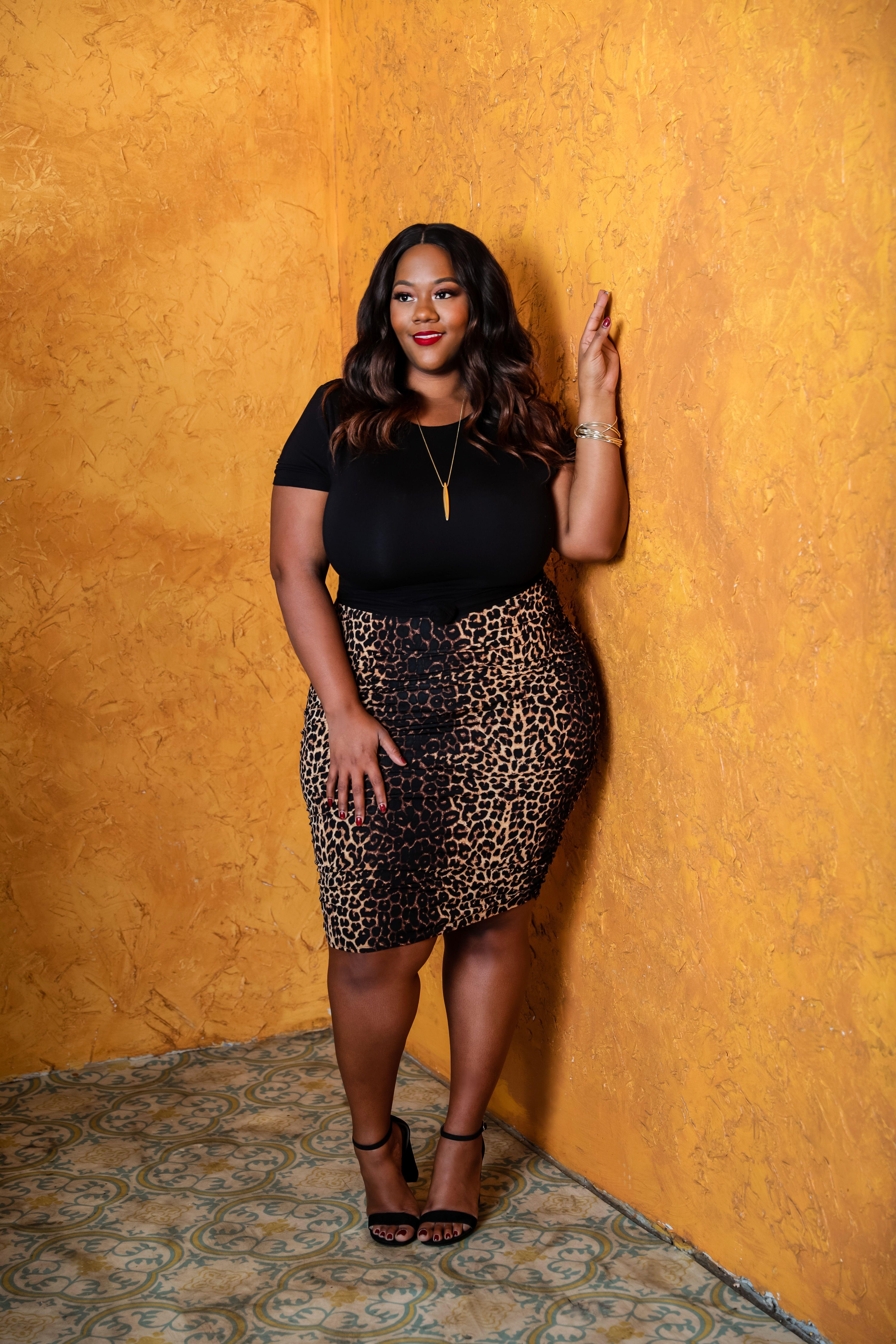 Plus Size Leopard Print Dress Black women fashion