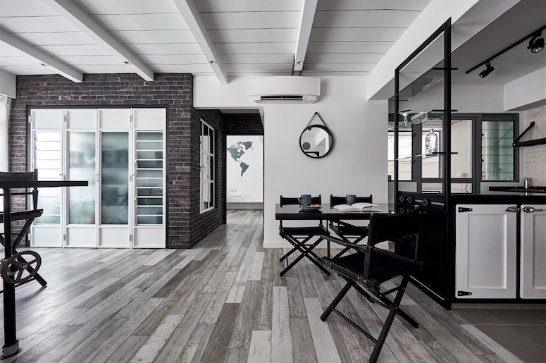 Inspired By The Industrial Loft Design Concept Often Seen In New York Apartments The Overall Monochro House Ceiling Design House Design Industrial Loft Design