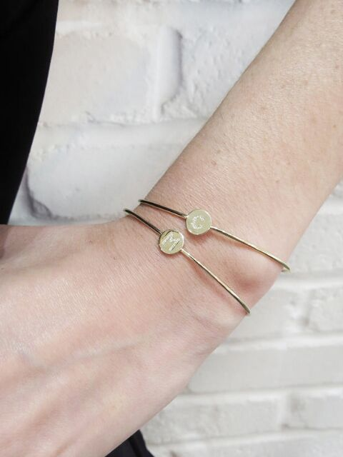 Diamond Mini Disc Initial Cuff Bracelet