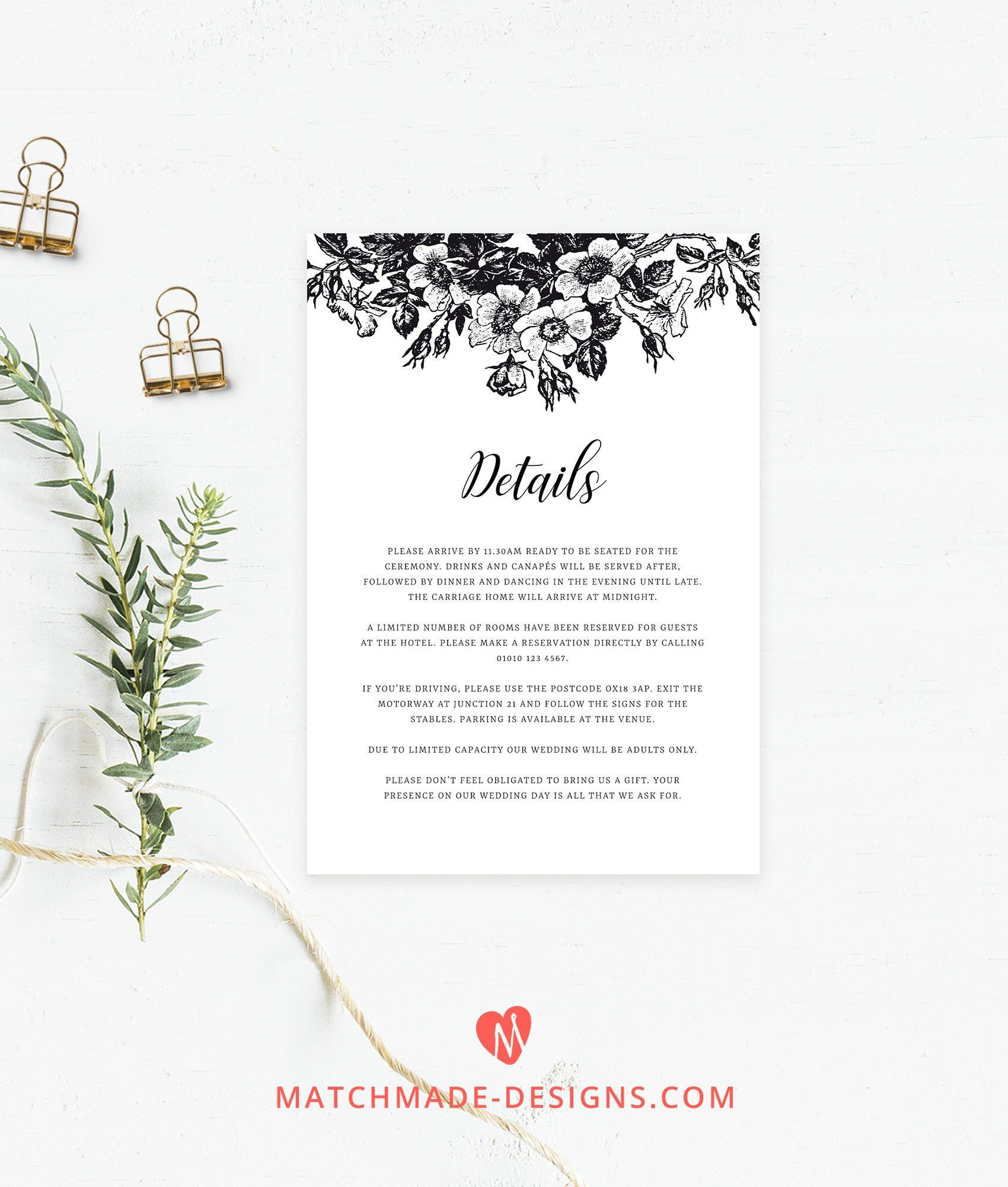 black white wedding details card template floral wedding info