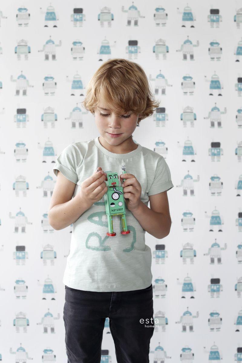 HD vliesbehang getekende vintage speelgoed robots mint groen en blauw op een mileuvriendelijke vlies behang ondergrond. #jongenskamer #kinderkamer #stoer #kidsroom #little #bandits